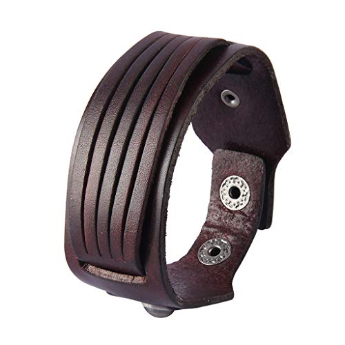 (AZORA Punk Leather Bracelet Handmade Cuff Bangle Braided Wristband Adjustable Bracelets for Men,Kids,Boys,Women (AL0013-BROWN))