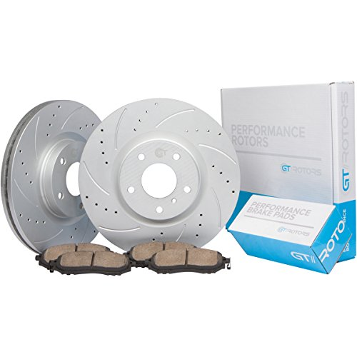Jetta Gt Brake ([Front Kit w/288mm Rotors] GT//Rotors Performance Brake Disc Rotors & Ceramic Pads for Volkswagen Jetta TDI & 2.5L Models [05-17] Beetle [12-15] Rabbit [07-10] + Other VW Cars with 288mm Rotors)