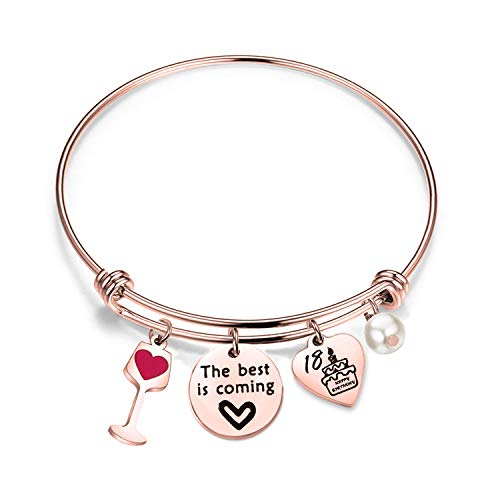 bobauna Birthday Gift for Sweet 16 18th 21st 30th Rose Gold Stainless Steel Expandable Wire Bangle Bracelet (18th RG)