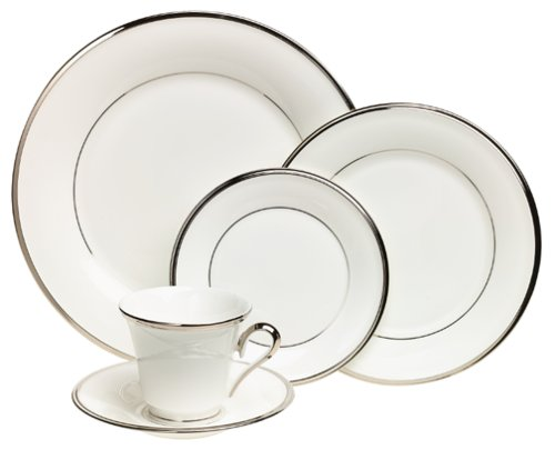 Lenox Solitaire White Platinum-Banded 5-Piece Place Setting, Service for 1 ()