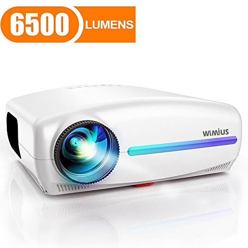 Projector, WiMiUS Native 1080P Projector 6500 Lumens Led Video Projector Support 4K HD Zoom ±50° Digital Keystone Cor, Outdoor & Home Projector Compatible with Fire TV Stick, PS4, PC, iPhone, Android