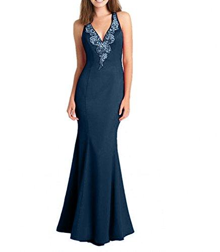 Ausschnitt Ballkleider Abendkleider Promkleider mit V Blau Satin Trumpet Spitze Damenmode Figurbetont La Tinte Etuikleider mia Brau xTqvXv