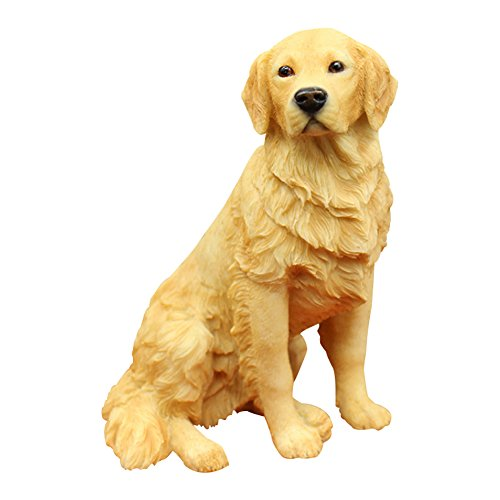 Resin Crafted Golden Retriever Statue-Puppy Dog Resin Figurine