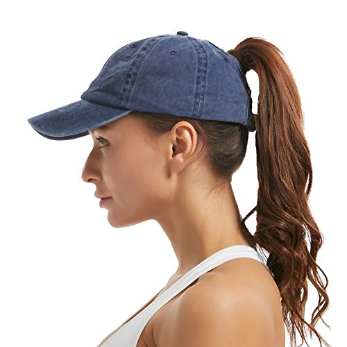 Leotruny Women Washed Cotton High Ponytail Baseball Cap (C03-Blue) ()