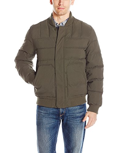 Nylon Quilted Bomber Jacket (Bass GH Men's Quilted Microtwill Flight Bomber Jacket, Olive, L)