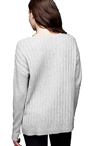 Gap Womens Ivory Big Cozy Ribbed V-Neck Pullover Wool Blend Sweater XL