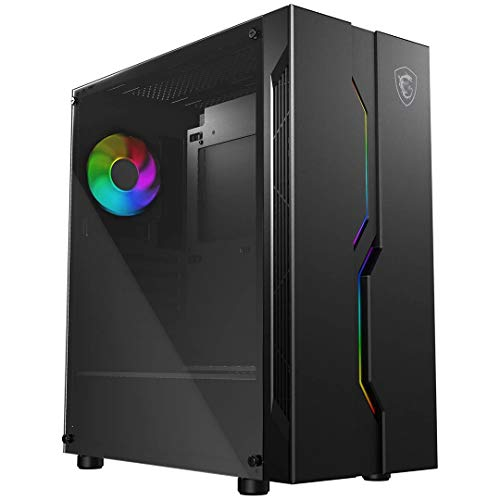 MSI MAG VAMPIRIC 010 Mid Tower Gaming Computer Case 'Black, 1x 120 mm Argb Fan, Mystic Light Sync, Tempered Glass Panel…