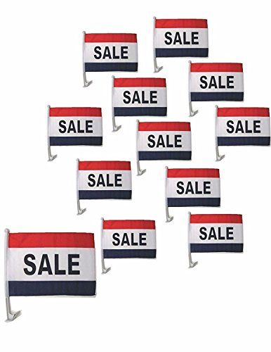 (ALBATROS 12 in x 18 in (Pack of 12) Sale Red White Blue Car Vehicle Flag for Home and Parades, Official Party, All Weather Indoors)