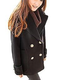 KUFV Womens English Style Woolen Cashmere Double-Breasted Blazer Jacket Coats
