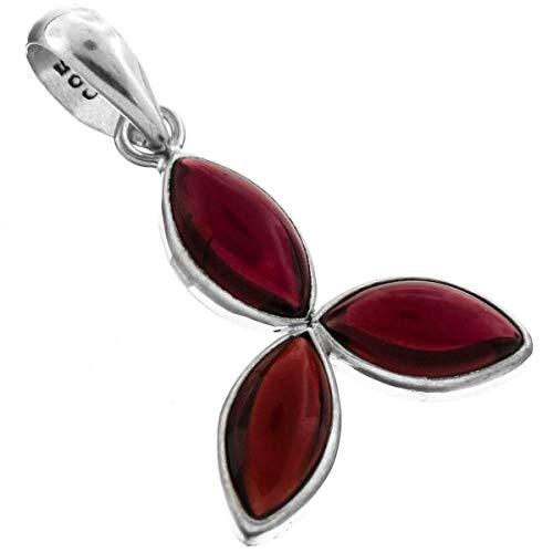 1 1/16'' Gorgeous 2.25CT RED Garnet Gemstone 925 Sterling Silver Pendant YE-1317 (2.25 Ct 3 Stone)