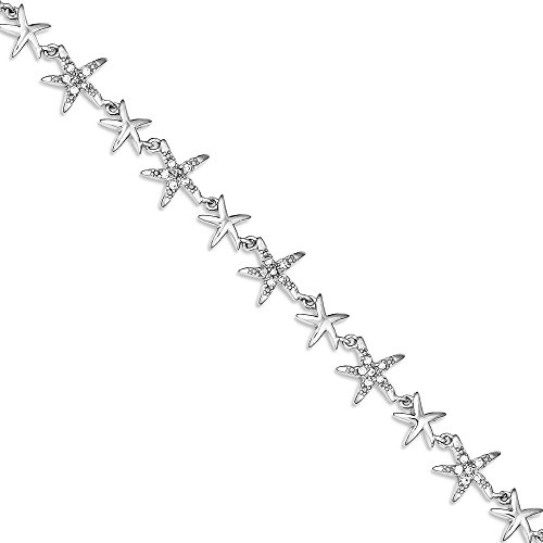 ICE CARATS 925 Sterling Silver 7.25in Alternating Cubic Zirconia Cz Starfish Bracelet 7.25 Inch Seashore Fine Jewelry Gift Set For Women Heart by ICE CARATS