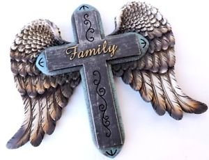Family Cross - Polly House Western Style Family Wing Cross Wall Cross for Home Decoration and Great for Gifts