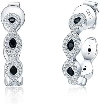 883cad55d Mozume 925 Sterling Silver Half Eternity Hoop Piercing Stud Earrings Black  Cubic Zirconia For Her