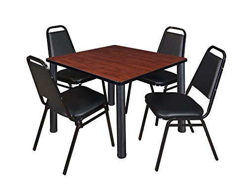 "Kee 42"" Square Breakroom Table- Cherry/ Black & 4 Restaurant Stack Chairs- Black"