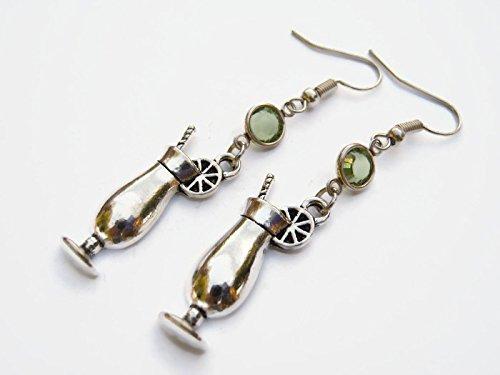 Personalized Tropical Drink Earrings, Alcohol Birthstone Earrings, Tiki Earrings, Bartender Cocktail Charm (Free Island Tiki Bar)