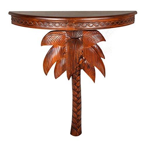 Rattan Walnut Table (International Caravan ZM-3805-ST-IC Furniture Piece Windsor Carved Exotic Palm Tree Wall Table)
