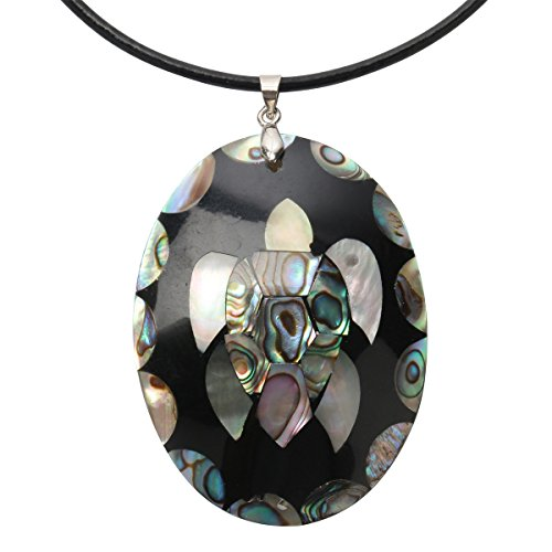 - Hiddleston 925 Sterling Silver Abalone Shell Big Turtle Necklace Jewelry for Women Teen Girls Black leather 18