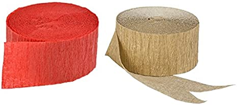 Made in USA 290 Feet Total Yellow Gold Metallic Crepe Paper Streamers