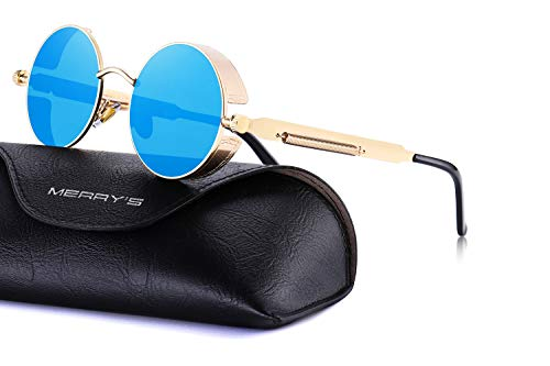 MERRY'S Gothic Steampunk Sunglasses for Women Men Round Lens Metal Frame S567(Gold&Blue, 46) ()