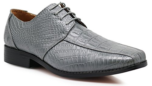 Gator3N Men's Alligator Crocodile Print Oxfords Fashion Lace Up Dress Shoes (8.5, Gray) - Gray Dress Shoes
