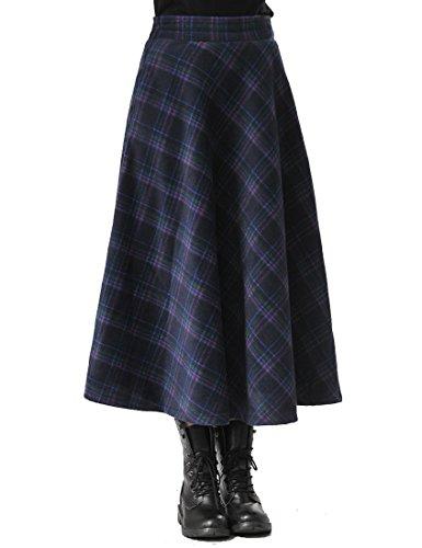 TEERFU Women High Waist Skirt Vintage Pleated A Line Flared Skater Knee Length Midi Swing Dress with Pockets