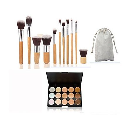 Wholesale 11pc Bamboo Handle and? Nylon Hair Cosmetic Makeup Brush Set and 15 Colors Concealer supplier