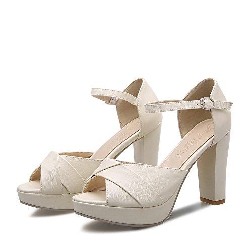 BalaMasa Girls Peep-Toe High-Heels Imitated Leather Sandals Beige 2NXIlcG4