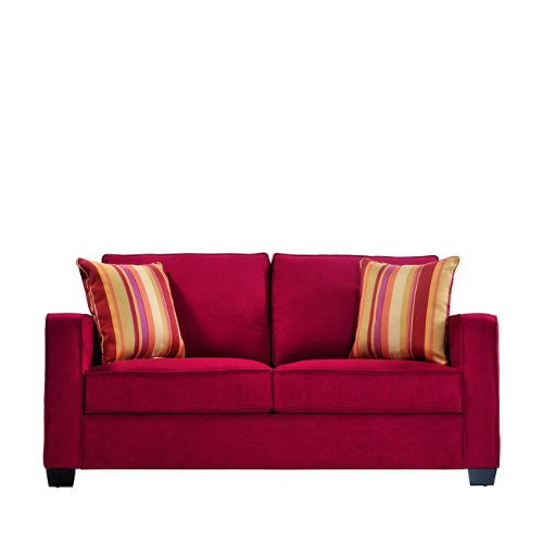 Handy Living MAD1 S83 AAA47 Madison Squared Arm Microfiber Sofa, Crimson Red  With