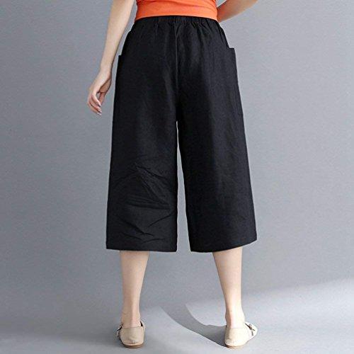 Tasche HaiDean Semplice Larghi Tempo Hipster Larghi Pantaloni Pantalone Nero Monocromo Con Giovane Taglie Glamorous Libero Moda Pantalone Sciolto Forti Moda Estivi Donna Elegante Pantaloni U7UZqFr