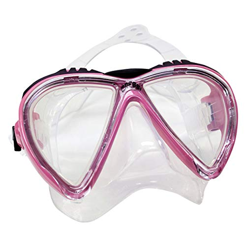 Cressi Sub Lince 2 Lens Scuba Diving Silicone Mask For Smaller Faces, Pink