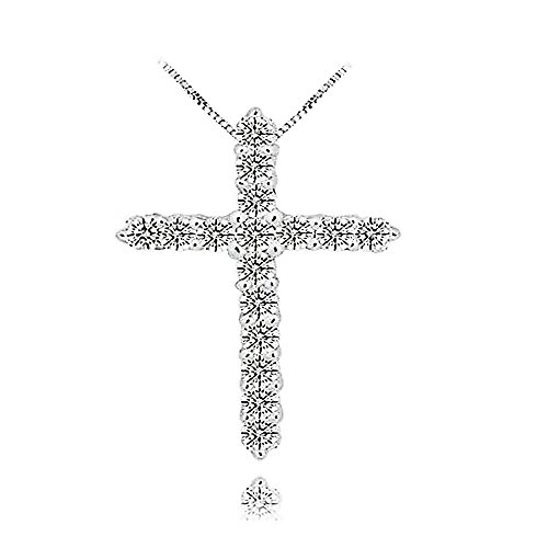925 Silver Crystal Cross Necklace Pendant Religious Faith Christian Jewelry For Women (Cubic Zircon Cross Pendant)