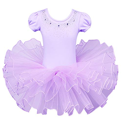 BAOHULU Kids Leotards for Dance Short Sleeve Rhinestone Ballet Tutu Dress for Little Girls 3-8 Years B093_Purple_XL]()