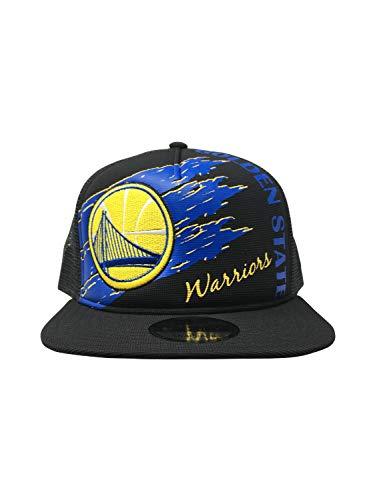 New Era Golden State Warriors Adjustable Snapback Hat 9Fifty NBA Basketball Straight Brim Baseball Cap (One Size, Swipe Trucker) (Golden State Warriors New Era)