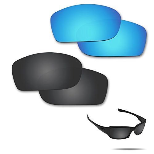 Fiskr Anti-saltwater Polarized Replacement Lenses for Oakley Fives Squared Sunglasses 2 Pairs Packed