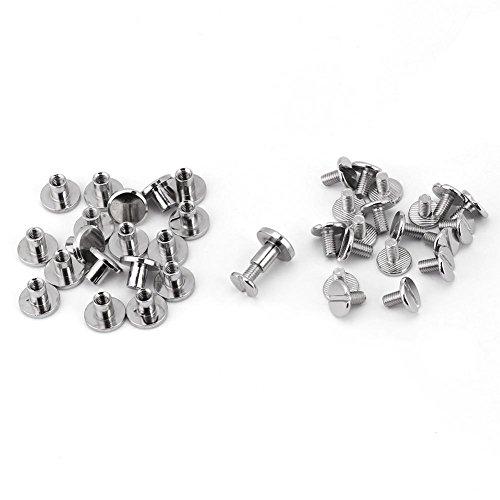 Flat Stud Solid Brass Spike Metal Studs Rivet, 20Pcs/Set Durable Brass Threaded Flat Head Nut Nail Rivets Screws Leather Belt Repair Rivets Supplies, 5mm,6.5mm,8mm(8mm)