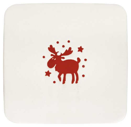 Waechtersbach Holiday Willie Large Flat Square Plates, Set of 2, White with Cherry Moose