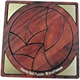 Golden Feather Portable Wooden Game Ball Puzzle | 10 Pieces Puzzle for Kids and Adults | Travel Pouch Included
