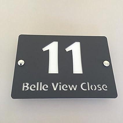 Rectangular House Number & Street Name Sign - Graphite
