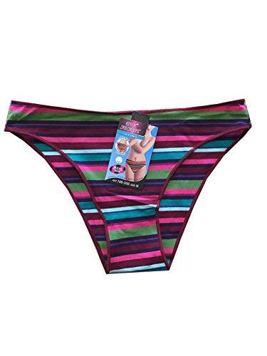 Set 4Slip aus Baumwolle Typ Niedriger Bund Unterwäsche Damen Streifen bunt
