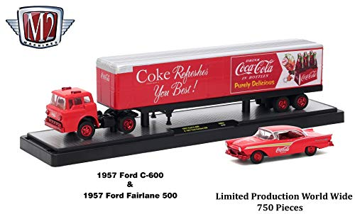 M2 Machines Limited Edition Chase Vehicle Set 1957 Ford C-600 (Coke Red) & 1957 Ford Fairlane 500 Auto-Haulers 2018 Coca-Cola Release 1 Castline 1:64 Scale Die-Cast Vehicle Set (1 of only 750)
