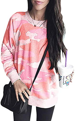 ECOWISH Women's Camouflage Print Casual Leopard Pullover Long Sleeve Sweatshirts Top Blouse 233 Coral Pink XL