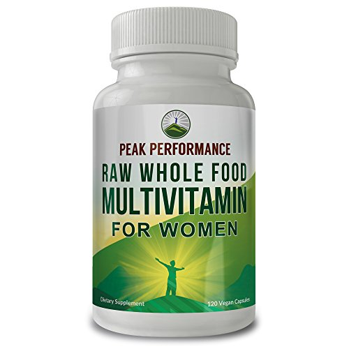 RAW WHOLE FOOD Multivitamin For Women By Peak Performance. 120 Vegan Multi Vitamin Capsules with HIGH ABSORPTION and Over 50+ REAL Whole Foods. Includes Womens Vitamins For Hormonal, Immune, Heart, Br
