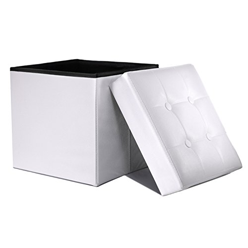 WoneNice Folding Storage Ottoman Cube Foot Rest Stool Seat (White) (Storage Ottoman White)