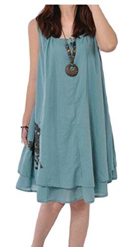 Senza Cotone Biancheria Collo Puro Jaycargogo Maniche Di Vestito Allentato Blu Colore In Paletta Womens qapITwXT