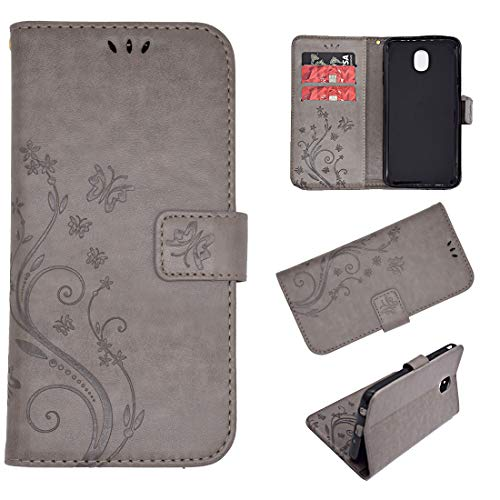 Wallet Case for Samsung Galaxy J7, Leather Wallet Case Magnetic Closure Kickstand Flip Folio Shockproof Embossed Butterfly Flower Cover with Credit Card Slots +Wrist Strap for Samsung Galaxy J7(Grey)