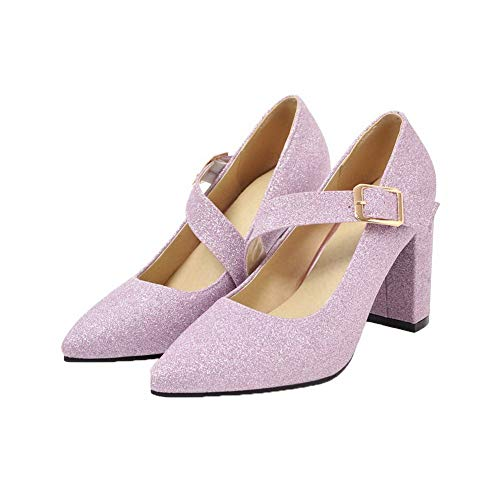 Fibbia Flats Alto Tacco Viola FBUIDD006227 Donna AllhqFashion Ballet Puro Zqw4ISzx