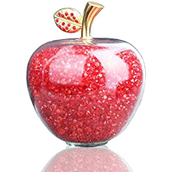Christmas Gifts Crystal Apple Miniature With Colored Stuffing Luxury Glass Xmas Apple Crafts Home Decoration Accessories Christmas Festive & Party Supplies