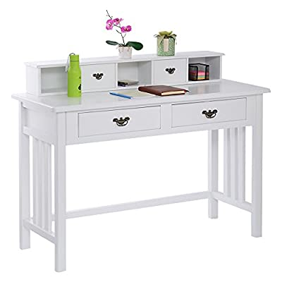 (US Stock)EVELOVE Mission White Home Office Writing Computer Desk with 4 Drawers and Hutch