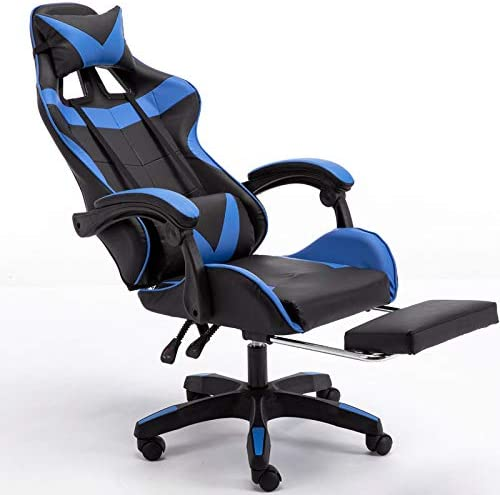 Massage Gaming Chair Ergonomic Computer Gaming Chair with Footrest, Reclining Home Office Chair High Back Racing Style Gamer Chair for E-sports Large Game Chair with Headrest and Lumbar Support blue