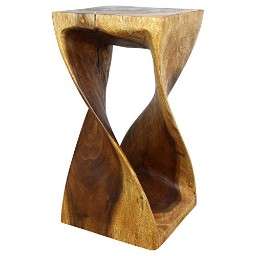 Haussmann Twist Stool 12 in SQ x 23 in High Walnut Oil (Furniture Living Room Sustainable)
